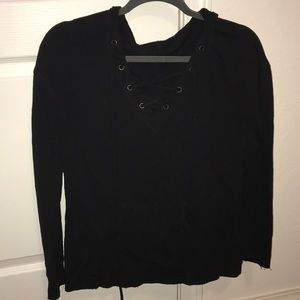 Mossimo Lace Up Long Sleeve with Hood
